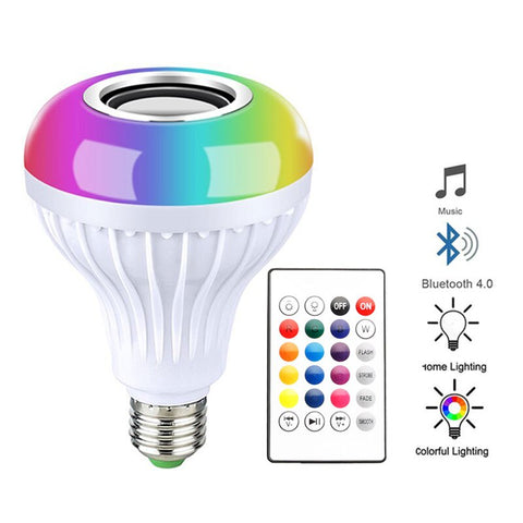 Bluetooth LED Light Bulb Speaker Music Playing Audio Smart Light Lamp With Remote Control
