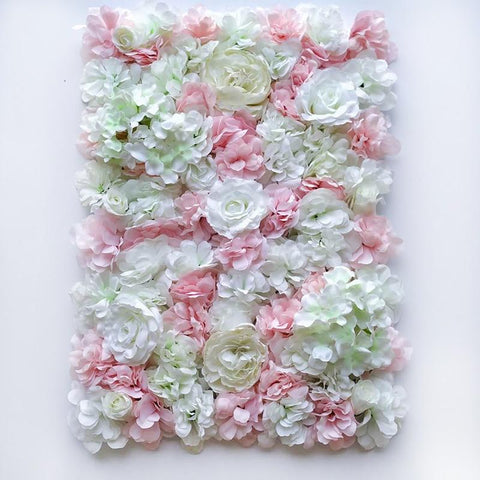 Image of Silk Rose Flower Champagne Artificial Flower Flower Wall Panels Wedding Backdrop Decor