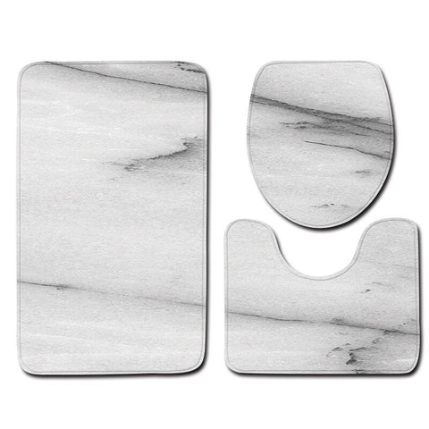Image of 3Pcs Bath Mat Set Marble Pattern Bathroom Rugs Anti-Slip Bath Floor Mat