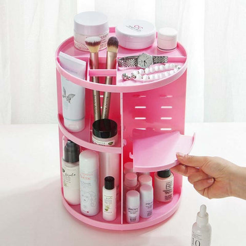Image of 360 Degree Rotate Makeup Organizer Plastic Storage Box Cosmetic Make Up Ca