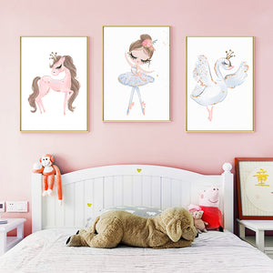 Wall Picture Ballet Princess Nursery Wall Art Canvas Painting
