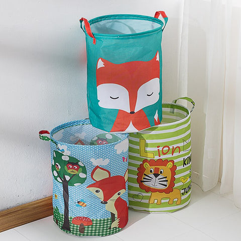 Waterproof Storage Basket Cartoon Patter Fabric Folding Basket
