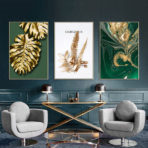 Image of Abstract Golden Leaves Wall Art Canvas Painting Modern Home Decor