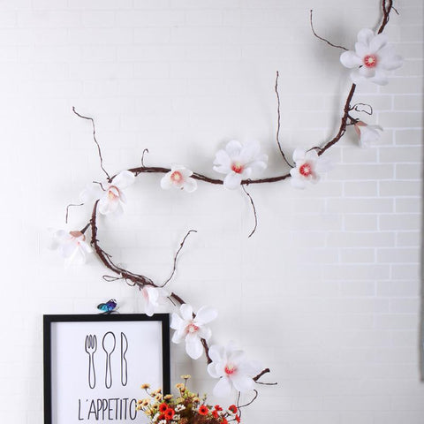 Image of 185 cm Orchid Flowers Wall Tree Branches Wreath Garland Artificial Magnolia Flowers Vine