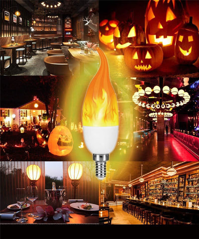 LED Fire Light E27 Candle Lamp 5W 4 Modes Lighting LED Flame Flickering Bulb