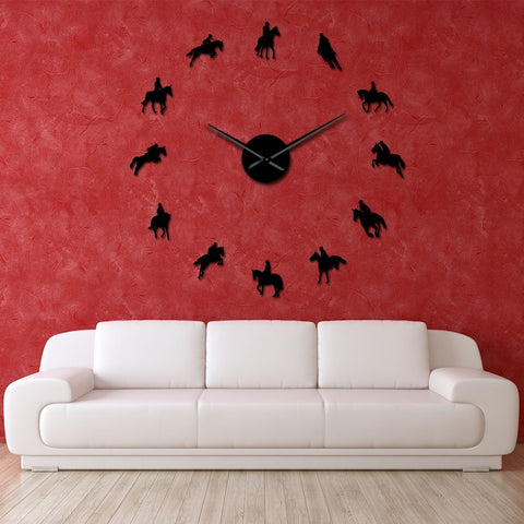 Image of DIY Large Wall Clock Equestrianism Decorative Wall Art Stickers