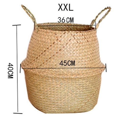 Image of Rattan Folding Basket Laundry Storage Basket Home Organizer Garden Pot (Brown XXL)