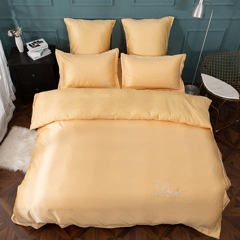 Image of Bed Sheet Quilt Cover Pillowcase  Pure Satin Silk Pure Color Embroidery