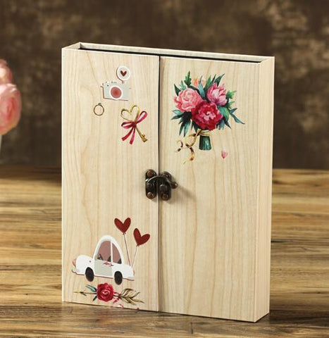 Image of Wooden Sheets Card Love Theme Wedding DIY Album Vintage Photo Scrapbooking Album
