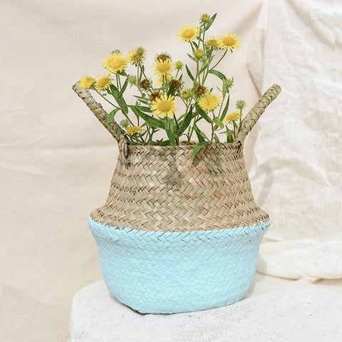 Image of Handmade Bamboo Storage Basket Foldable Straw Patchwork Garden Flower Pot
