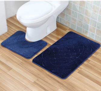 Bathroom Mat Set Carpet Bathroom Floor Non-slip Rugs Toilet Bath Mat