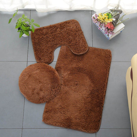 3Pcs / Set Anti-Slip Bath Toilet Mats Set Coral Fleece Absorbent Toilet Bathroom Carpet
