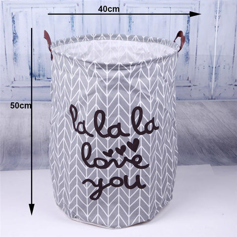 Image of Folding Laundry Storage Basket Cartoon Print Laundry Organizer