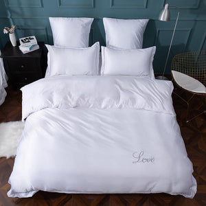 Bed Sheet Quilt Cover Pillowcase  Pure Satin Silk Pure Color Embroidery