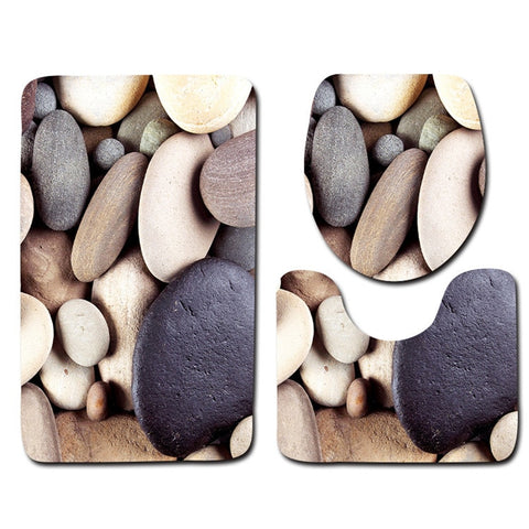 Image of 3Pcs Beach Shells Ocean Bath Mats Anti Slip Bathroom Mat Set