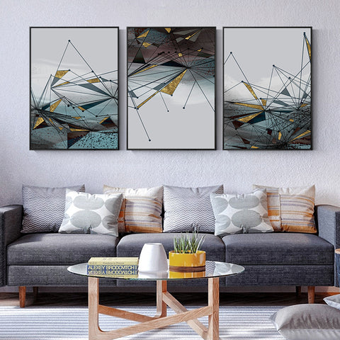 Image of Canvas Painting Modern Abstract Geometric Picture Wall Art