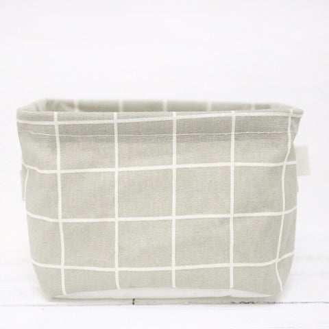 Cotton Linen Desktop Storage Basket Cute Table Storage Organizer