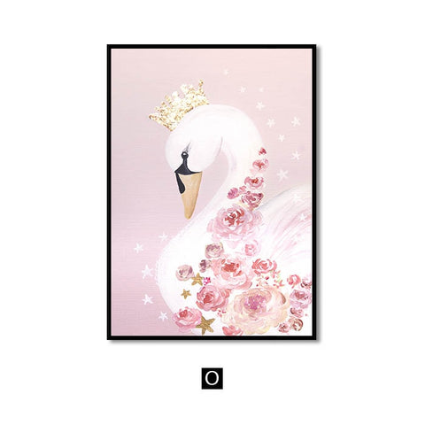 Image of Wall Art Canvas Painting Sweet Horse Swan Nordic Wall Pictures