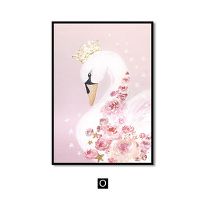 Wall Art Canvas Painting Sweet Horse Swan Nordic Wall Pictures