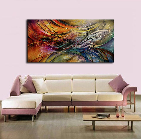 Image of Hand Painted Modern Abstract Oil Paintings Home Wall Art Canvas Set Geometric