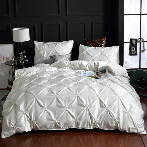 Image of Luxury Silk Bedding Set Queen Comforter Bedding Set King Duvet Cover Set