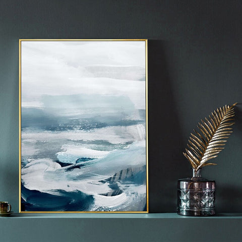Image of Abstract Ocean Landscape Wall Art Canvas Painting