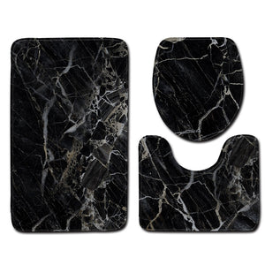 3Pcs Bath Mat Set Marble Pattern Bathroom Rugs Anti-Slip Bath Floor Mat