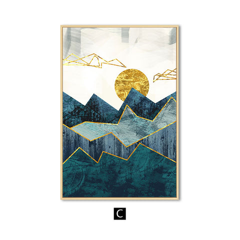 Image of Abstract Geometric Mountain Landscape Wall Art