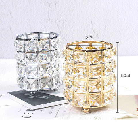 Image of Metal Makeup Brush Storage Tube Makeup Organizer Bead Crystal Jewelry Storage Box