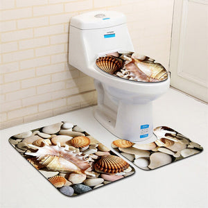 3Pcs Beach Shells Ocean Bath Mats Anti Slip Bathroom Mat Set