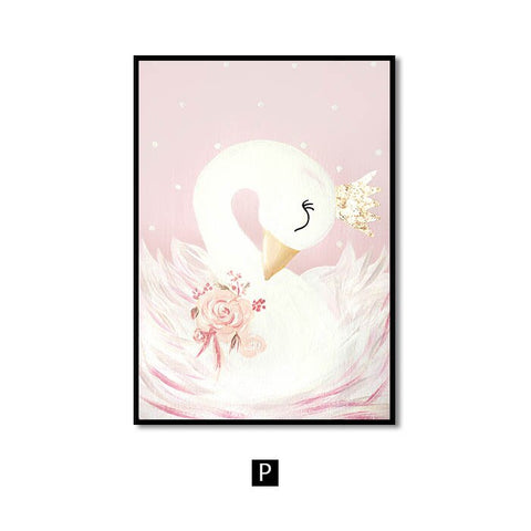 Image of Wall Art Canvas Painting Horse Swan Nordic Wall Pictures