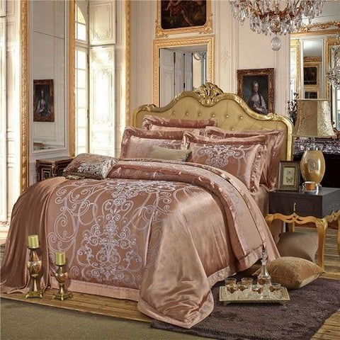 Image of Luxury Silk Satin Duvet Cover Bedding Set Embroidery Bed Set Bed Sheet set