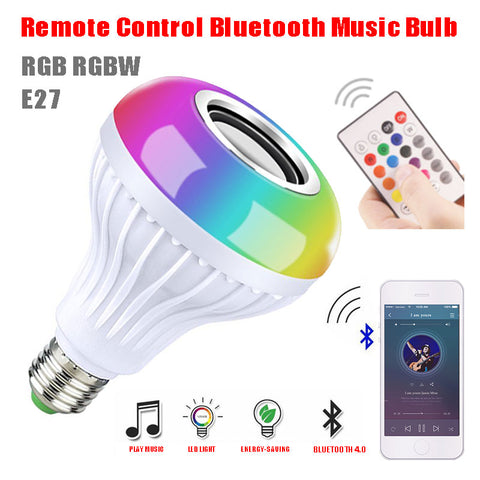 Image of Bluetooth LED Light Bulb Speaker Music Playing Audio Smart Light Lamp With Remote Control