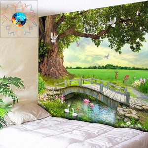 Forest Printed Large Wall Tapestry Bohemian Wall Art Decor
