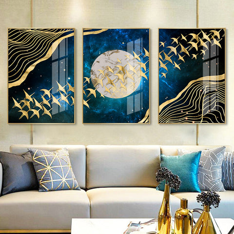 Image of Abstract Moon Wall Art Canvas Painting Home Decor
