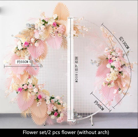 Image of European Wedding Arch Decor Artificial Flower Wrought Iron Fake Flower Row Flower Wall