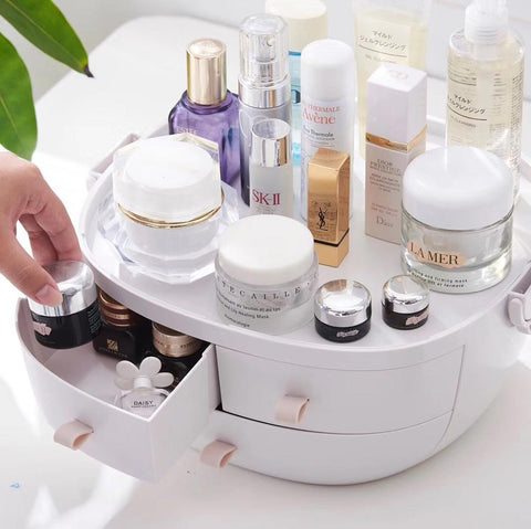 Image of Plastic Makeup Storage Box Portable Cosmetic Organizer Make Up Container Storage