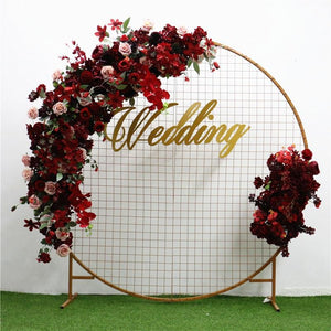 European Wedding Arch Decor Artificial Flower Wrought Iron Fake Flower Row Flower Wall