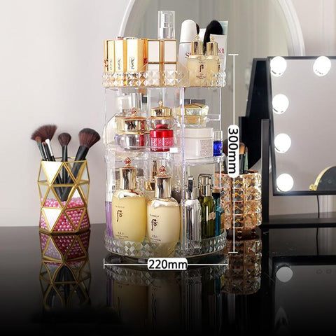 Image of 360 Degree Rotating Cosmetic Storage Box Makeup Organizer Cosmetics Storage Rack (Clear)