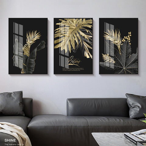 Image of Abstract Wall Pictures Golden Leaf Plant Wall Art Canvas Painting Home Decor