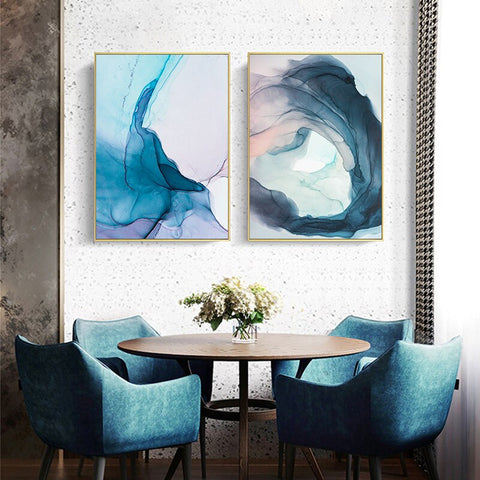 Image of Wall Art Pictures Watercolor Blue Ink Bloom Modern Abstract Canvas Painting