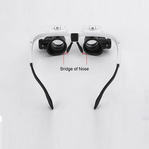 Glasses-type Head Mount Dual High Power LED Magnifier Temples