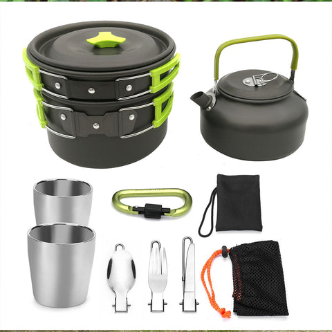 Image of Portable Outdoor Camping Cooking Set Cooking Pots And Pans Outdoor Tablewares
