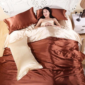 Satin Silk Quilt Cover Home Textile King Size Bed Set Bedclothes Duvet Cover