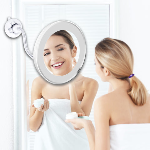Image of 10X Magnifying Makeup Mirror With Led Light Vanity Mirrors Rotating My Flexible Mirror