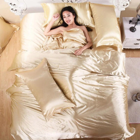 Image of Satin Silk Quilt Cover Home Textile King Size Bed Set Bedclothes Duvet Cover