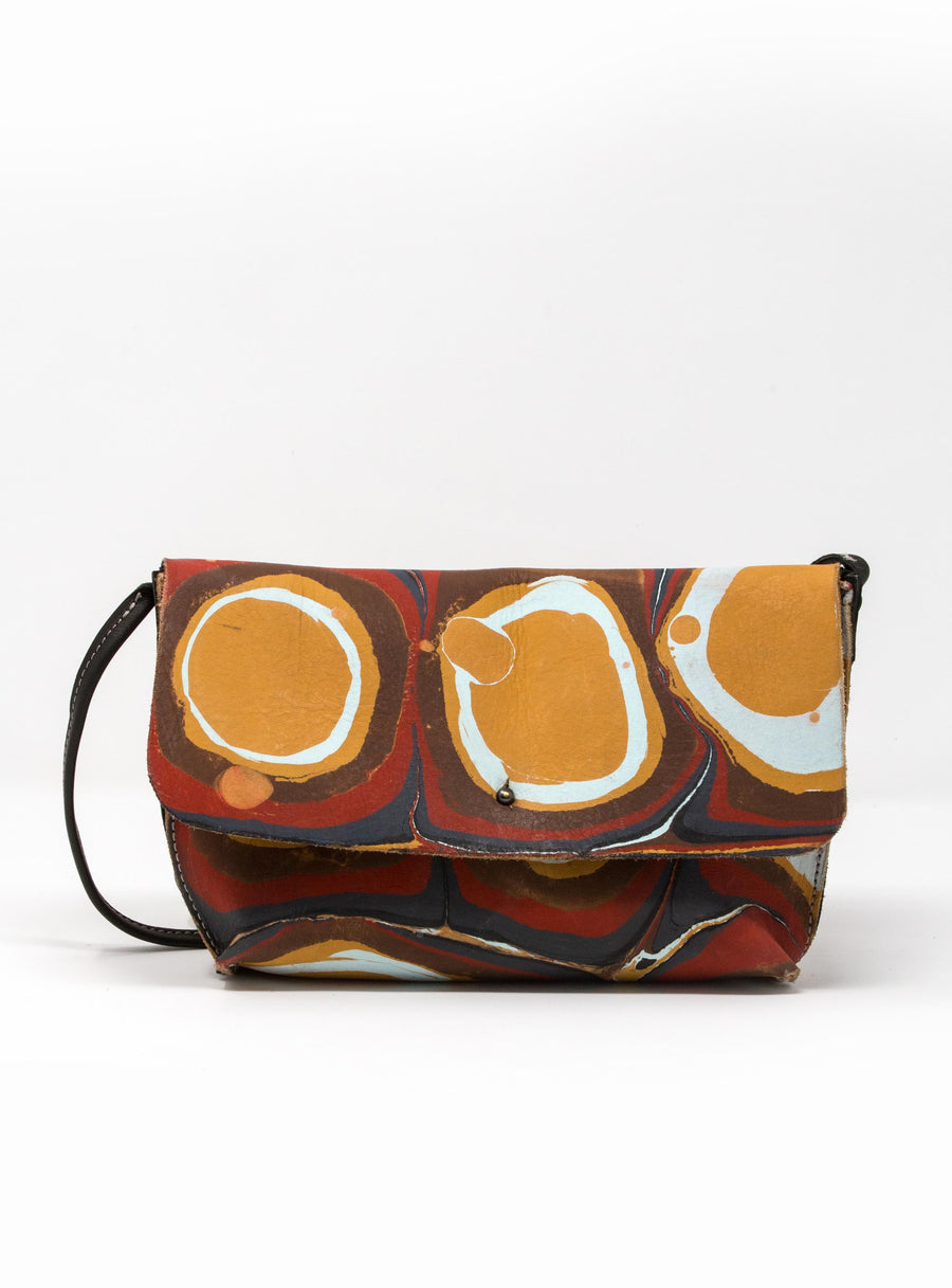 MARBLED LEATHER MESSENGER CROSSBODY