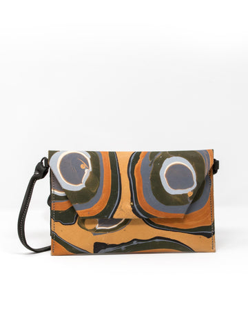 MARBLED LEATHER ENVELOPE CROSSBODY