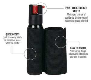 Cyclist pepper spray with adjustable bike strap