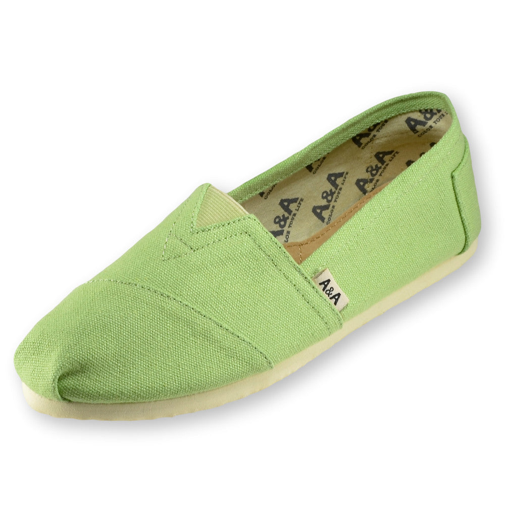 Green Canvas Slip On Shoes for Women